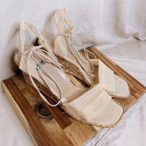 RARE Stuart Weitzman Tulle Wedge Sandals || 11
